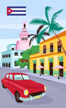 Red vintage car in Havana poster flat vector template. Cuban traditional colorful buildings. Brochure, booklet one page concept design with cartoon objects. Summer holiday flyer, leaflet