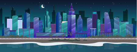 Night city flat color vector illustration. Seaside skyline. Nighttime metropolis 2D cartoon cityscape with skyscrapers on background. Sandy beach panorama with palm trees and skyscrapers