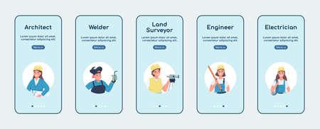 Engineering women jobs onboarding mobile app screen flat vector template. Gender equality. Walkthrough website steps with characters. UX, UI, GUI smartphone cartoon interface, case prints set