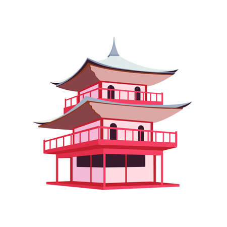 Japanese pagoda flat color vector object. Traditional buildings in Japan and China. Asian culture and architecture isolated cartoon illustration for web graphic design and animation
