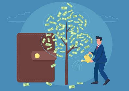 Businessman watering money tree flat concept vector illustration. Financial success. Successful man with a big wallet 2D cartoon character for web design. Cash tree creative idea Illusztráció