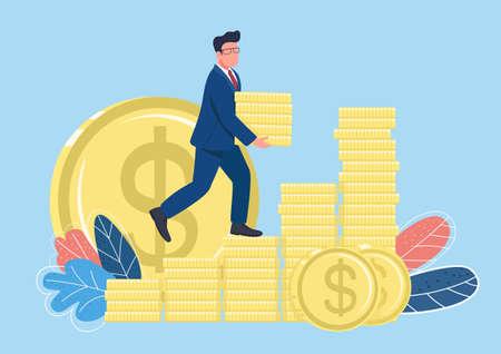 Businessman climbing money ladder flat concept vector illustration. Successful man walking up on golden coins 2D cartoon character for web design. Making profit and savings creative idea