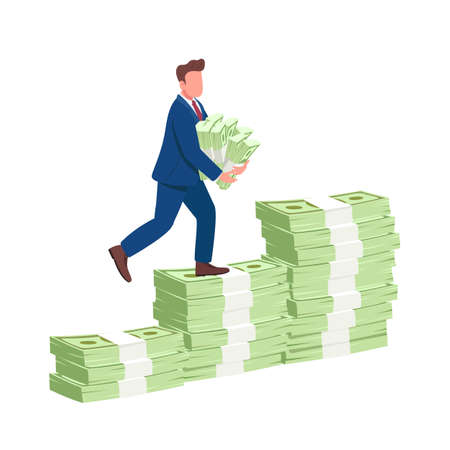 Man climbing money stairs flat concept vector illustration. Successful businessman walking up on cash holding stacks of money 2D cartoon character for web design. Financial success creative idea