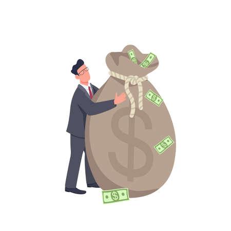 Businessman holding big money bag flat concept vector illustration. Financial success. Man standing and hugging huge cash bag 2D cartoon character for web design. Business angel creative idea