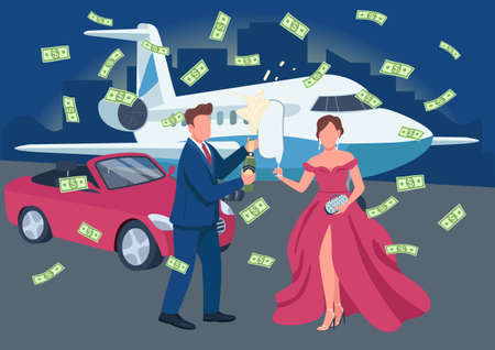 Wealthy couple opening champagne bottle flat color vector illustration. Money flying around. Rich people having celebration 2D cartoon characters with transport and cityscape on background Illusztráció