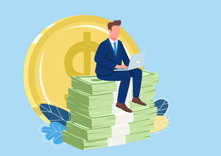 Successful employee sitting on pile of money flat concept vector illustration. Person earning money online. Man working at laptop 2D cartoon character for web design. Making profit creative idea