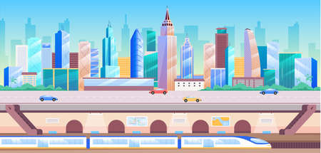 City transportation flat color vector illustration. Modern metropolis 2D cartoon cityscape with skyscrapers on background. Urban infrastructure, underground station with subway train below city street