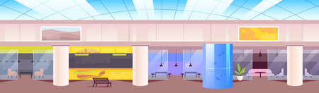 Food court flat color vector illustration. Cafeteria in shopping mall 2D cartoon interior with lounge zones on background. Recreation center hall with empty rooms. Modern open space cafe Illusztráció