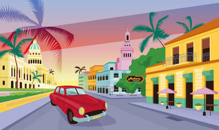 Havana landscape flat color vector illustration. Cuba street view with traditional colorful buildings and retro car. Cuban attractions 2D cartoon cityscape with tropical palms on background Illusztráció