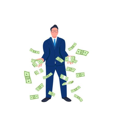 Businessman throwing money up flat concept vector illustration. Tycoon. Successful entrepreneur with falling money 2D cartoon character for web design. Green cash rain creative idea Illusztráció