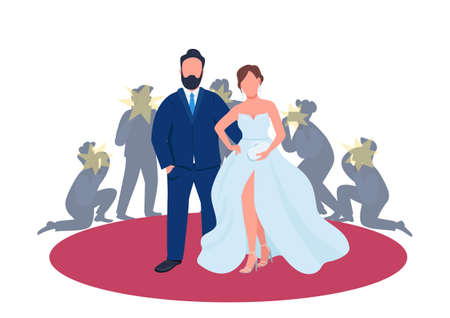 Celebrity couple on red carpet flat concept vector illustration. Man and woman at premiere in fancy outfits with paparazzi. 2D cartoon characters for web design. Music and film industry creative idea