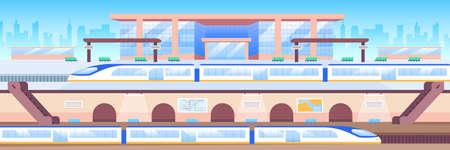 Train station flat color vector illustration. Modern megapolis 2D cartoon cityscape with skyline on background. Railroad transportation, urban travel. Intercity express, subway trains Illusztráció