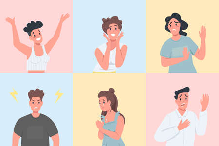 Different emotional expressions flat color vector detailed character set. Men and women with various feelings isolated cartoon illustration for web graphic design and animation collection Illusztráció