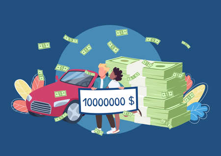 Lottery winners holding big money check flat concept vector illustration. Happy millionaires couple with pile of money and car 2D cartoon characters for web design. Victory and fortune creative idea