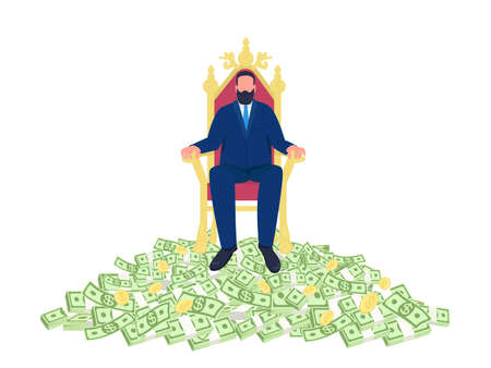 Successful businessman sitting on throne flat concept vector illustration. Man sitting in chair on pile of money 2D cartoon character for web design. Rich and ambitious person creative idea