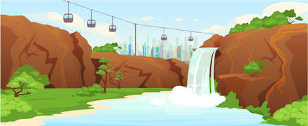 Urban park flat color vector illustration. Waterfall in city parkland 2D cartoon landscape with skyline on background. Public recreation spot, picturesque urban garden with funicular
