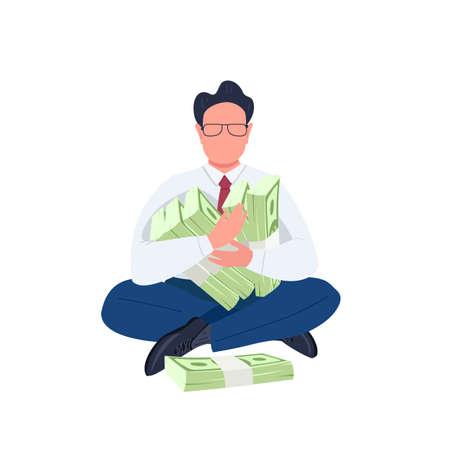 Man holding stacks of money flat color vector faceless character. Businessman. Entrepreneur. Office worker sitting with cash bundle isolated cartoon illustration for web graphic design and animation