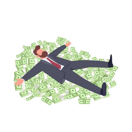 Businessman lying on money flat concept vector illustration. Successful office worker. Tycoon. Man in suit lying on cash 2D cartoon character for web design. Business success creative idea Illusztráció