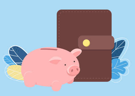 Piggy bank and wallet flat color vector object. Pink penny bank and money wallet. Funds and savings. Making savings isolated cartoon illustration for web graphic design and animation Illusztráció