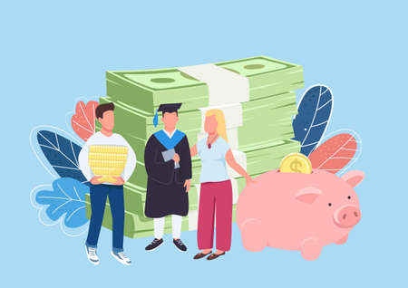 Parents savings for child education flat concept vector illustration. Financial support. Education costs. Student with family 2D cartoon characters for web design. Tuition payments creative idea
