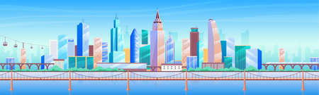 City skyline flat color vector illustration. Modern metropolis 2D cartoon cityscape with skyscrapers on background. Business district, downtown panorama with tall buildings and bridge