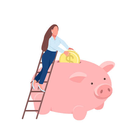 Woman putting coin in piggy bank flat concept vector illustration. Businesswoman standing on ladder. Lady making savings 2D cartoon character for web design. Saving money creative idea
