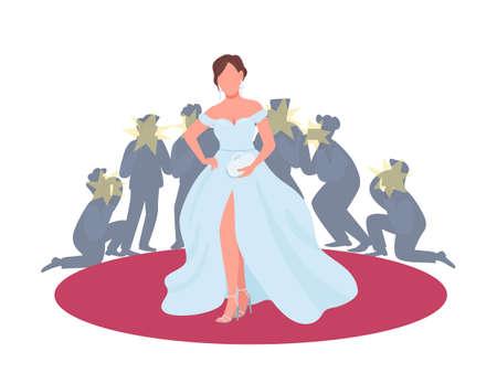 Actress in fancy dress on red carpet flat concept vector illustration. Movie premiere, festival. Woman posing to paparazzi 2D cartoon character for web design. Entertainment industry creative idea Illusztráció