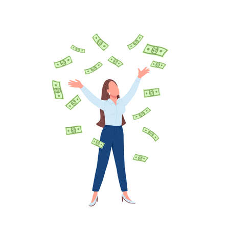 Business woman throwing cash up flat color vector faceless character. Successful lady. Financial achievement. Female millionaire isolated cartoon illustration for web graphic design and animation