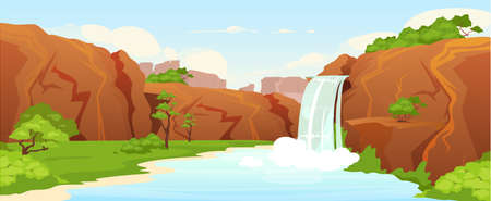 Beautiful oasis flat color vector illustration. Natural waterfall, park 2D cartoon landscape with greenery on background. Picturesque garden, nature reserve. Idyllic recreation place, vacation spot