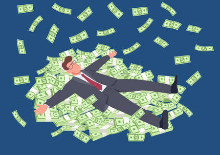 Successful man lying on money flat concept vector illustration. Businessman in suit with stacks of cash. Tycoon 2D cartoon character for web design. Financial success creative idea