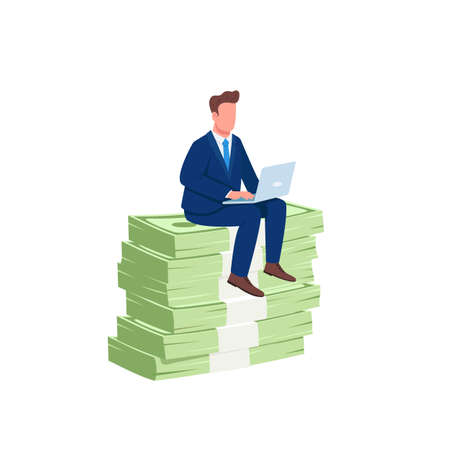 Investor sitting on pile of money flat concept vector illustration. Successful office worker. Employee working at laptop 2D cartoon character for web design. Earning money online creative idea