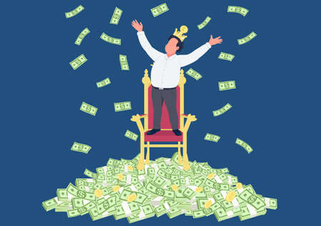 Successful businessman with crown on pile of money flat concept vector illustration. Tycoon. Man standing under money rain 2D cartoon character for web design. Rich person creative idea