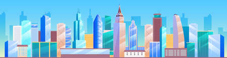Urban landscape flat color vector illustration. City skyline. Metropolis 2D cartoon cityscape with skyscrapers on background. Business district architecture, downtown panorama with tall buildings