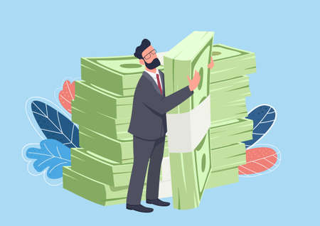 Businessman hugging big cash pack flat concept vector illustration. Rich man standing and holding stacks of money 2D cartoon character for web design. Raising finance creative idea