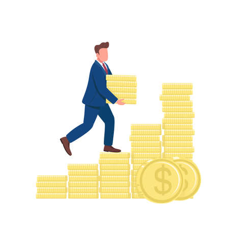 Man walking up on golden coins flat concept vector illustration. Successful businessman climbing money ladder 2D cartoon character for web design. Financial success creative idea