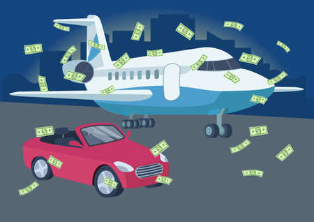 Car and plane with money rain flat color vector illustration. Winning lottery. Richness. Wealthy lifestyle. Red convertible car and airplane 2D cartoon objects with cityscape on background Illusztráció