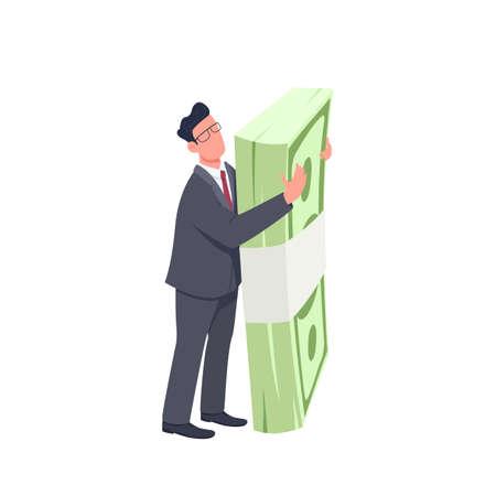 Entrepreneur holding money bundle flat concept vector illustration. Man standing and hugging big cash pack 2D cartoon character for web design. Finance and success creative idea