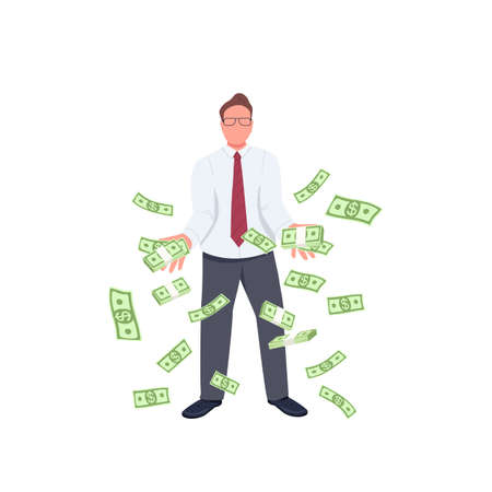 Office worker throwing money up flat color vector faceless character. Financial success. Successful employee with falling money isolated cartoon illustration for web graphic design and animation