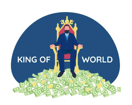 Successful businessman sitting on throne 2D vector web banner, poster. King of world phrase. Tycoon flat character on cartoon background. Rich person printable patch, colorful web element Vectores
