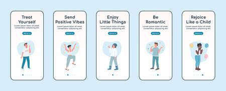 Self care onboarding mobile app screen flat vector template. Rejoice like child. Walkthrough website steps with characters. UX, UI, GUI smartphone cartoon interface, case prints set