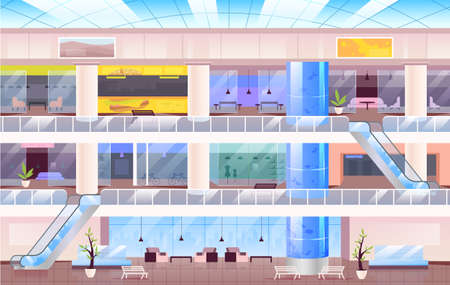 Shopping center flat color vector illustration. Large city mall 2D cartoon interior with multiple floors on background. Multi storey hall with storefronts, open space cafe and lounge zone Illusztráció
