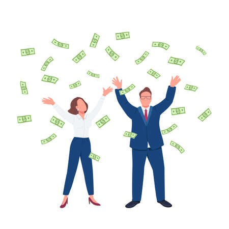 Business people throwing cash up flat concept vector illustration. Man and woman under money rain. Millionaires 2D cartoon characters for web design. Financial success creative idea
