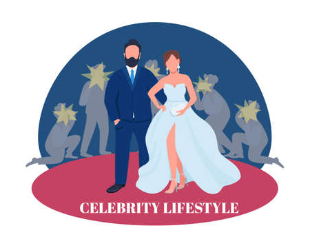 Celebrity couple on red carpet 2D vector web banner, poster. Celebrity lifestyle phrase. Flat characters on cartoon background. Entertainment industry printable patch, colorful web element
