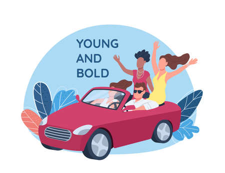 Young people driving red convertible car 2D vector web banner, poster. Young and bold phrase. Flat characters on cartoon background. Rich lifestyle printable patch, colorful web element