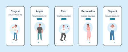 Negative emotions onboarding mobile app screen flat vector template. Mental health problem. Walkthrough website steps with characters. UX, UI, GUI smartphone cartoon interface, case prints set