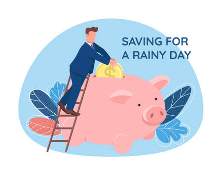 Man putting coin in piggy bank 2D vector web banner, poster. Saving for rainy day phrase. Flat character on cartoon background. Money savings printable patch, colorful web element
