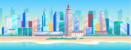 Seaside metropolis flat color vector illustration. Modern 2D cartoon cityscape with skyscrapers on background. Urban resort, summer recreation. City landscape with building near beach