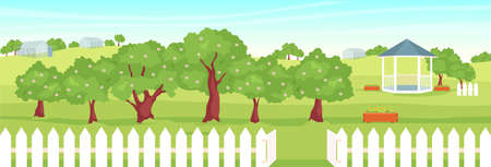 Orchard flat color vector illustration. Beautiful garden 2D cartoon landscape with gazebo and greenhouses on background. Countryside lifestyle, fruit growth. Rural scenery with blooming trees