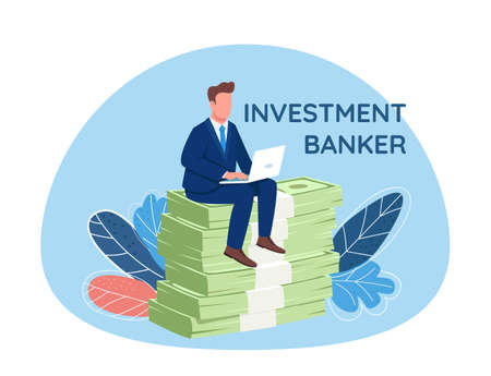 Investor sitting on pile of money 2D vector web banner, poster. Investment banker phrase. Flat character on cartoon background. Businessman working at laptop printable patch, colorful web element Illustration