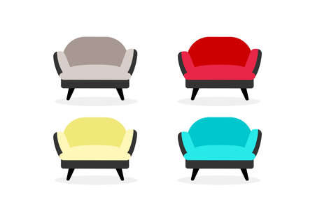 Armchairs flat color vector objects set. Office and home furniture. Soft chairs. Living room furnishing isolated cartoon illustration for web graphic design and animation collection 矢量图像
